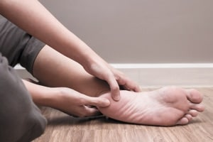 Female foot heel pain